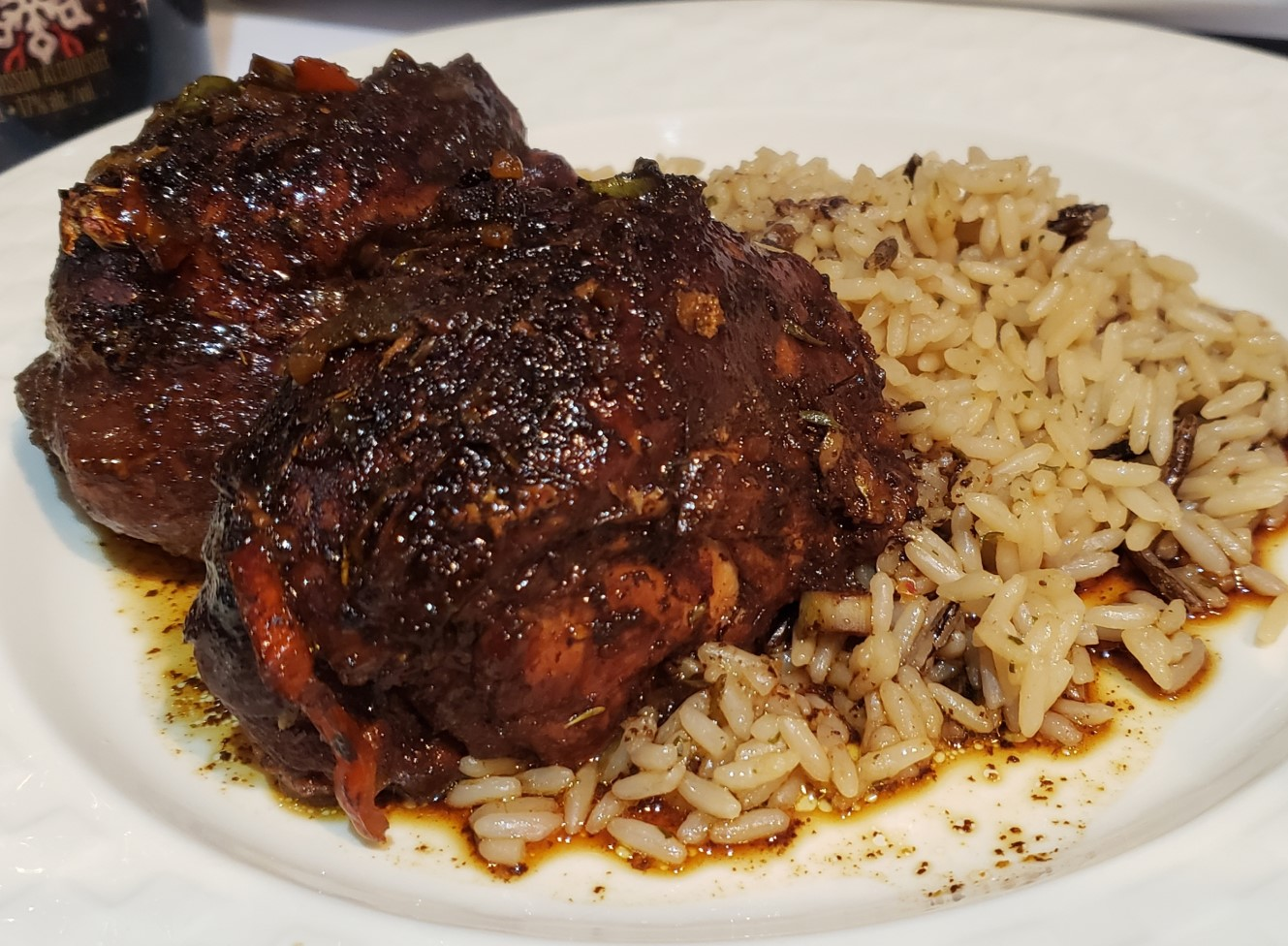 A delicious plate of jerk chicken